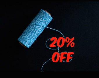 20% OFF Blue Bakers Twine 100yards - Gift wrapping, party favors, wedding decorations.