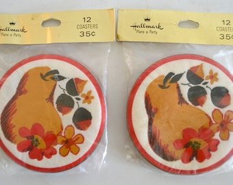 Vintage Paper Drink Coasters Hallmark Plans a Party Pear Design Two Sealed Packages 24 Total