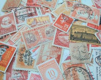 40 Orange Postage Stamps,  Stamps, Vintage Stamps, Halloween Crafting