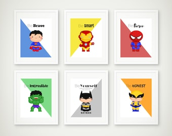 Superhero Print Set, Superhero Wall Art, Boys Room Decor, Superman Print, Batman Print, Super Hero Wall Art, 8 by 10
