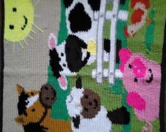 Handmade Crochet Childs Farmyard Blanket