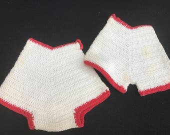 Pair of Vintage Red and White Hand Crochet Decorative Shorts Potholders