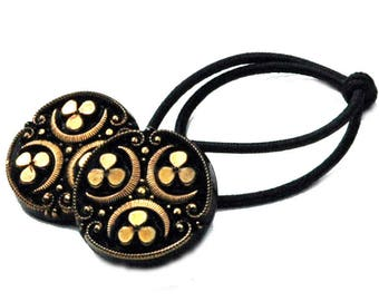 Black & Gold Glass Ponytail Holder, Crescent and Clover Design Motifs, Decorative Hair Elastics, Vintage Buttons as Special Hair Accessories