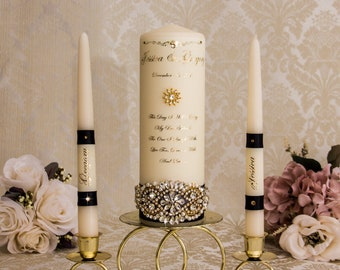 Black and Gold Wedding Unity Candle Set, Gold Wedding Unity Candles Wedding Candle Personalized Unity Candle Set, Black Unity Candle Set
