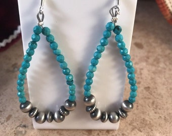 Sterling Silver, Turquoise & Navajo Beads Dangle Earrings