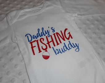 Daddy's Fishing Buddy Baby Boy Bodysuit - Daddy's Fishing Buddy Red & Blue - Baby Boy Fishing Gift