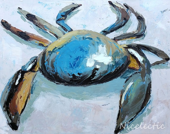 Blue crab art print, North Carolina, ocean themed art, coastal interior design, sea creatures, textured crab, print from original art, beach