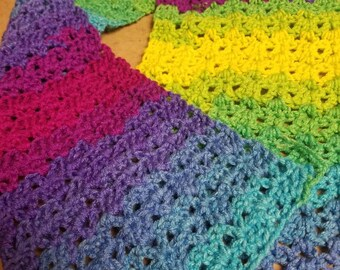 Rainbow v stitch crochet scarf