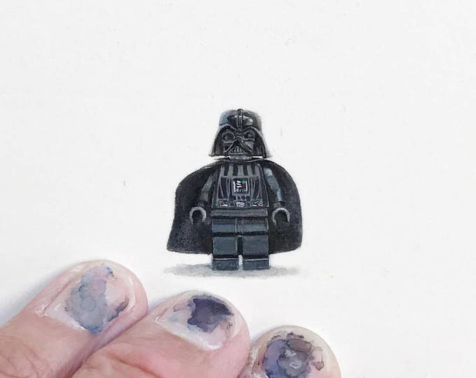 """Print of miniature painting of lego Darth vader  1 1/4 x 1 1/4"""" print of original Darth Vader painting on 5"""" square german etching paper"""