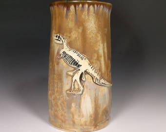 T-Rex Tyrannosaurus Skeleton Fossil Brown Gold Tan Crystalline Glazed Bone Handle Large Mug Beer Stein