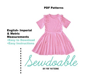 Skater Dress PDF Pattern 18/24M- 9/10Y