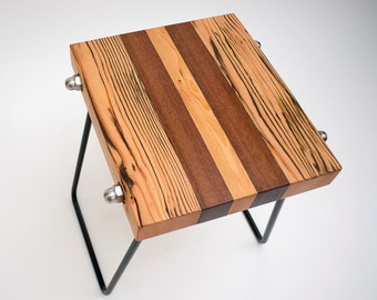 Nano | Side Table of Reclaimed Timber Beams on Steel Hairpin Legs