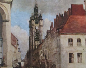Belfry at Douai, Crispin and Seapin /Reproduction Fine Art Prints/1951 2-Sided Vintage Book Page/9.5 x 13 in