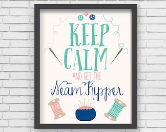 Home Decor Nursery Wall Art - Keep Calm Sewing Print - 8x10