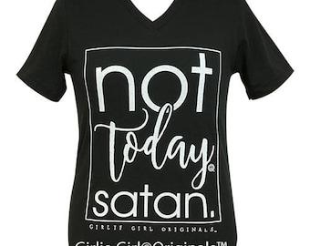 Girlie Girl Originals Not Today Satan Vintage Black V-Neck Short Sleeve