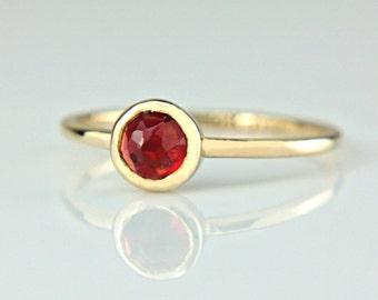 Red Garnet Gold Ring 14k Rose Cut Garnet Engagement Ring Red Rose Cut Garnet Gold Ring Made in Your Size White Rose Yellow Gold Garnet Ring