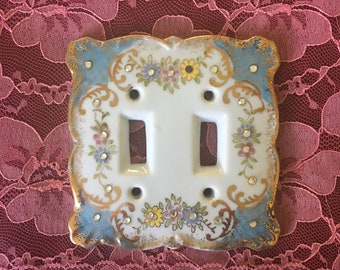 Vintage Lefton Porcelain Double  Switchplate with Rhinestones