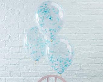 Blue Confetti Filled Balloons - Wedding, Engagement, Birthday, Anniversary Decor, Baby Shower