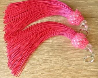 Pink Tassel Earrings Satin/Silk Earrings  Long Earrings Light  Earrings Boho Tassel Earrings Pink Jewelry  Christmas Gift Ready to ship