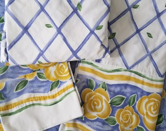Vintage Full Sheets, Double Sheet Set, 1990's, Wamsutta Provence, Blue Lattice & Yellow Flowers, Pillowcases Flat Fitted Set, French Country