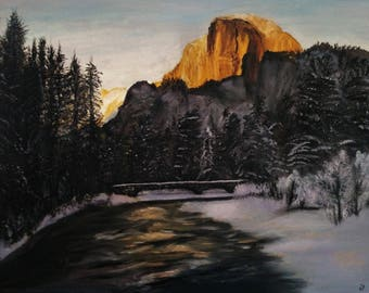 Oil on wrapped canvas purple hues half dome Yosemite