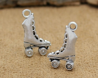 30pcs Antique Tibetan Silver Roller Skate Charms Pendant 3D 21x12x4mm C0888-Y