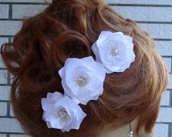 Wedding Hair Flowers, Mini Hair Flowers, Set of 3, Flower Bobby Pins, Wedding Accessories, REX17413
