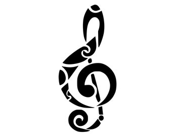 Musical note music outline laptop cup decal SVG Digital Download Cuttable Files Cricut Silhouette