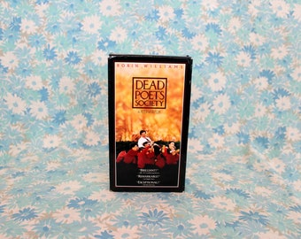 Dead Poets Society Vintage VHS Tape. 90s Drama Starring Robin Williams. Peter Weir Classic Dead Poets Society Poetry High School Drama Movie