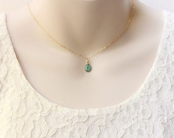 Turquoise teardrop necklace gold filled necklace, December birthstone, personalized minimalist jewelry, summer necklace