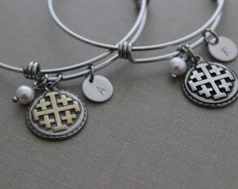 Jerusalem cross charm bracelet, stainless steel adjustable bangle, Swarovski crystal pearl,  hand stamped personalized initial disc