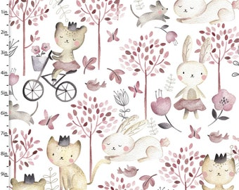 Playday - Animal Play Forest White from 3 Wishes Fabric