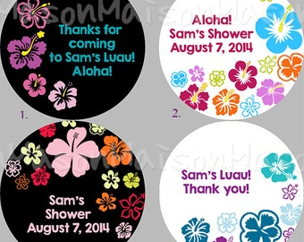 "Personalized Party Labels - Thank you Labels - Favor Labels - Luau Stickers - Tropical Flower Mason Jar  1.5"", 2"" or 2.5"" round"