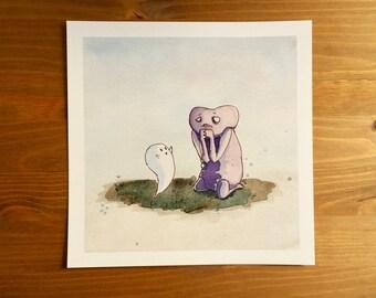 "Ghost Buddy & Zombie ""Worried"" Watercolor Print 8x8 by Kendra Minadeo Nursery Art, Baby Art, Nursery Decor, Inktober"