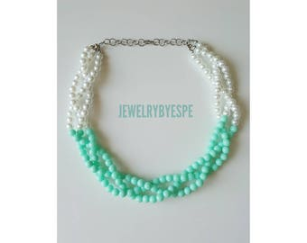 Statement Necklace Mint Necklace Aqua Bead Pearl Necklace Multi Strands twisted mint to be beach wedding jewelry mint green necklace
