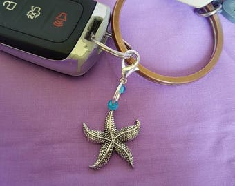 Starfish with Glass Bead Keychain, Starfish Zipper Pull, Starfish Beach Bag Charm, Starfish Rearview Ornament, Starfish Keyring, Starfish