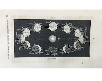 1859 SUN & SEASONS ANTIQUE print original antique astronomy celestial lithograph - suns motion in declination - zodiac phases