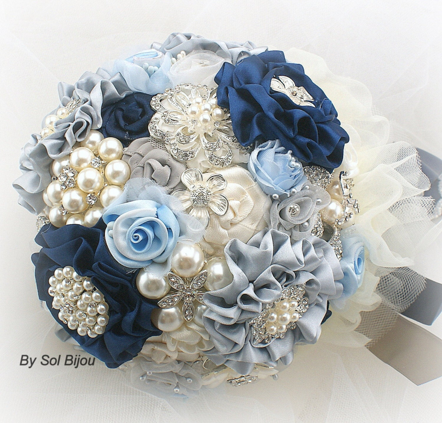 Brooch Bouquet Navy Blue Ivory Cream Silver Navy
