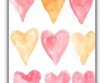 Original watercolor painting of hearts, Lovely art, Gift, Small painting, Heart illustrator,Home decorate, size 11.5 x 8 inches