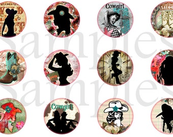 "1"" Western Cowgirl Flatback Buttons, Pins, Magnets 12 Ct."