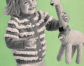 Loop Stitch Girl's Cardigan PDF Knitting Pattern / Toddler's size 2, 4, 6 /  looped sweater pattern / vintage cardigan pattern / PDF pattern
