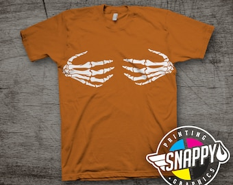 Skeleton Hand Bra Graphic Tee, Burnt Orange T-Shirt, Halloween Tee, Party Shirt