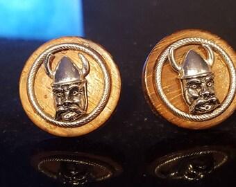 vintage cufflinks Swank Viking wood Norse formal wedding  norseman Lot TT3