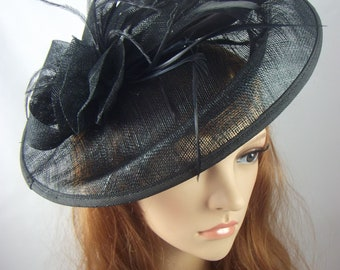 Black Large Oval Saucer Sinamay Fascinator - Occasion Wedding Races Hat