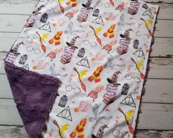 Harry Potter  Symbols Double Cuddle Minky Baby Blanket- , wizards, baby, baby shower gift, nursery, crib  bedding.