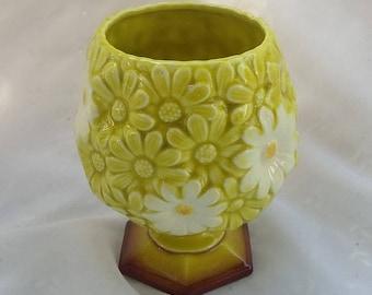 Ceramic Green and White Daisy Planter Pot