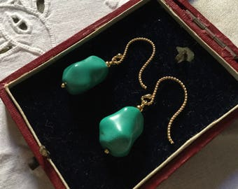 Vintage Splendid TURQUOISE VERMEIL EARRINGS - Natural Turquoise - Gold & sterling silver-Very Beautiful - Unique Design - from France