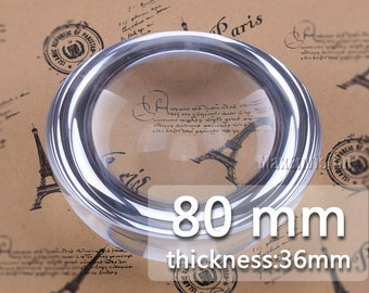 80mm Clear Hemispherical Glass Dome Cabochon Glass Tile Semispherical Glass Dome Cabochon Crystal Magnifying Cameo Base Cover M026
