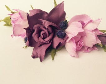 Wedding Flower Hair Clip Purple Wedding Hair Clip Bridal Headpiece Bridal hair flower Wedding headpiece Bridal hair piece Barrette clip