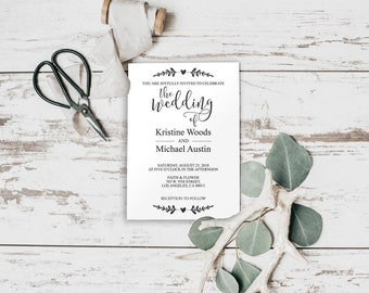 Editable Invitation, Editable PDF, Wedding Invitation Template, Wedding Invite, Wedding Invitation, Modern Calligraphy Invite, BD-6038